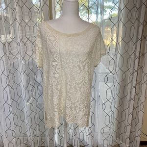 Miss Me Lace And Crochet Top Size Large